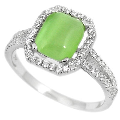 Green Cats Eye White Topaz 925 Sterling Silver Ring Jewelry H53427