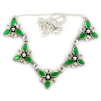 Green Emerald Quartz Marquise Shape 925 Sterling Silver Necklace Jewelry J4552