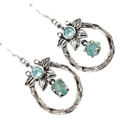 Natural Aquamarine Topaz Rough Sterling Silver Dangle Earrings J15761