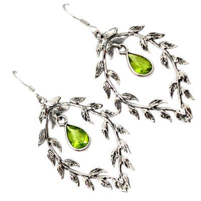 Natural Green Peridot 925 Sterling Silver Dangle Earrings Jewelry J15753
