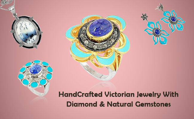 Handcrafted Victorian Jewelry With Diamond & Natural Gemstones
