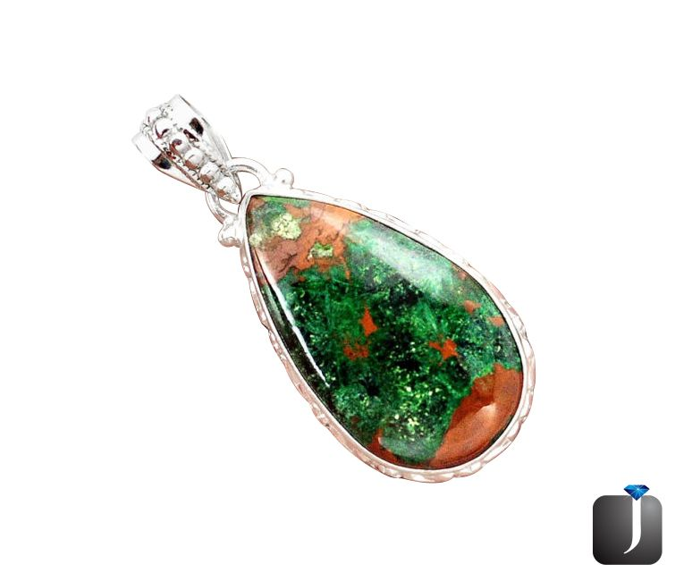 PEAR SHAPE NATURAL GREEN CHRYSOCOLLA IN BOULDER OPAL