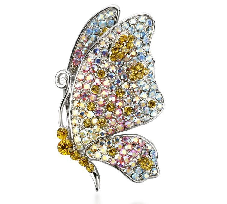 Sweet Smelling Butterfly Colorful Crysta -Brooch