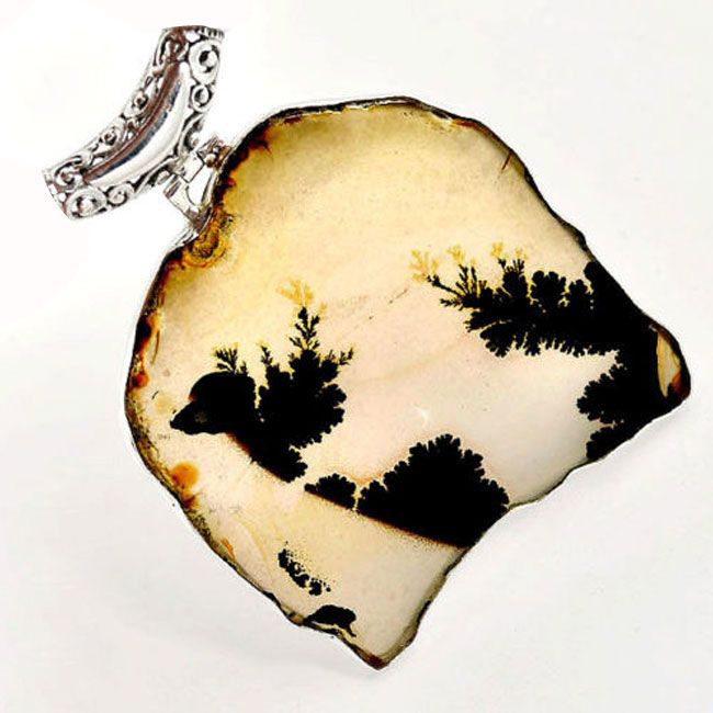 agate tree shades 925 silver pendant
