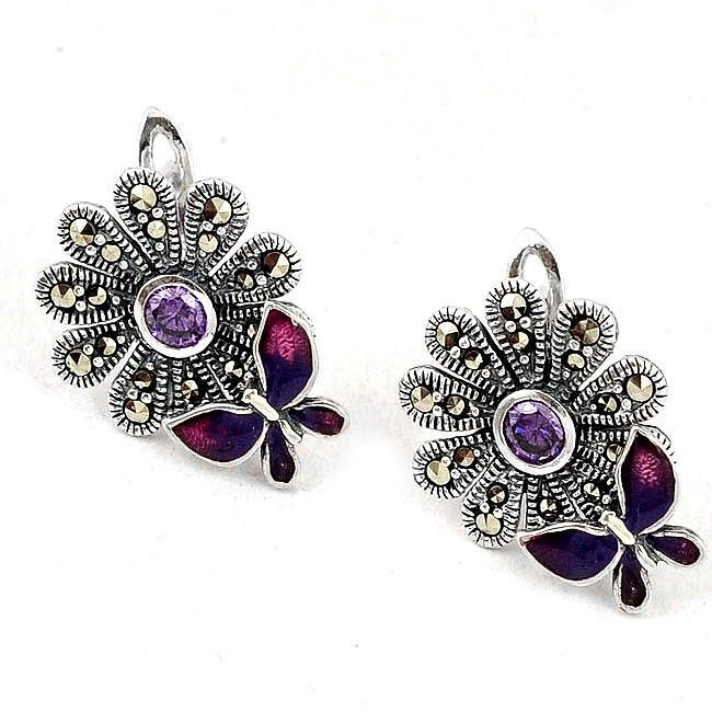 amethyst marcasite butterfly stud earrings