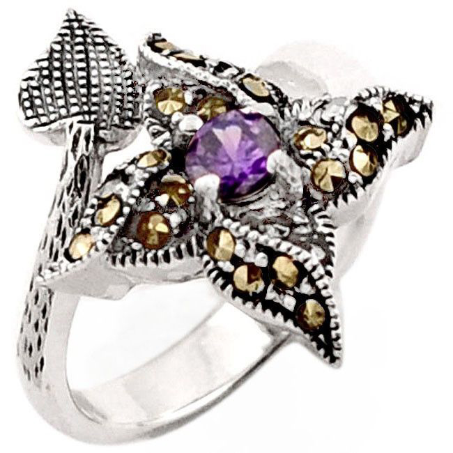 amethyst marcasite flower ring