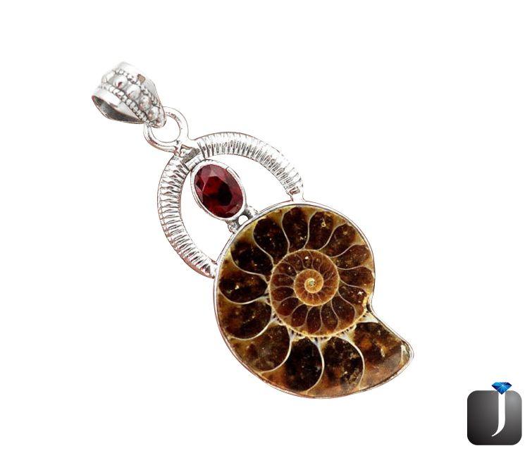 ammonite fossil garnet pendant