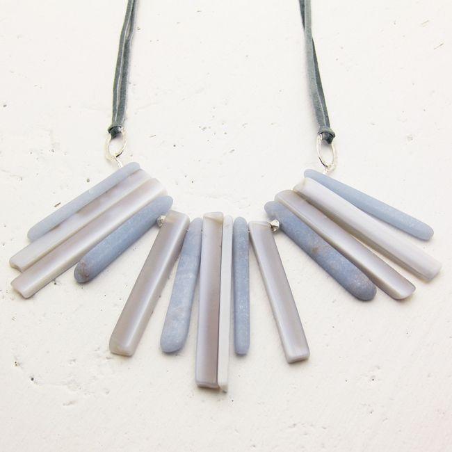 angelite boho fringe necklace