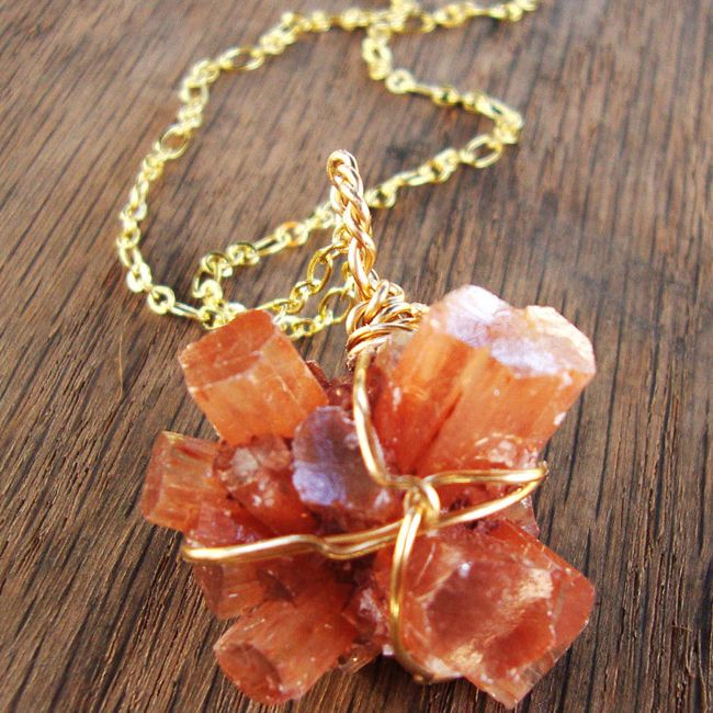 aragonite cluster necklace