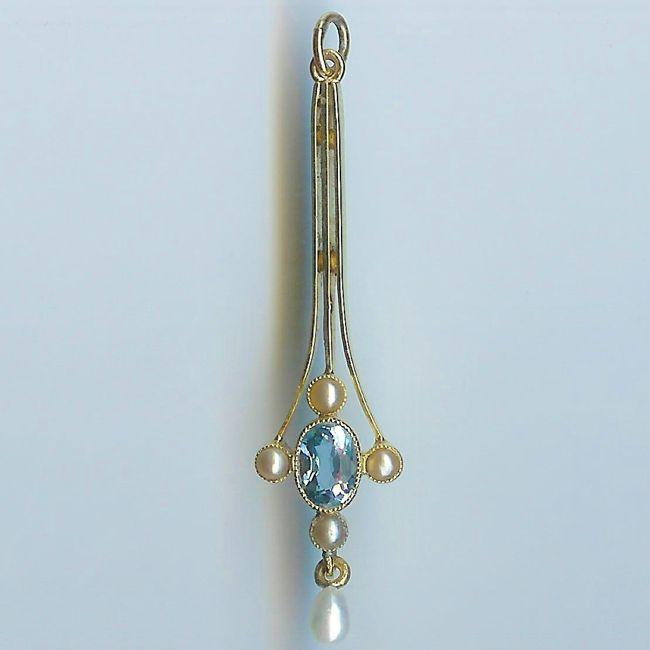 art noveau aquamarine pendant