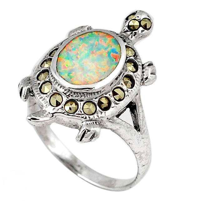 australian fire opal tortoise ring