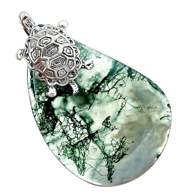 awesome natural green moss agate silver tortoise