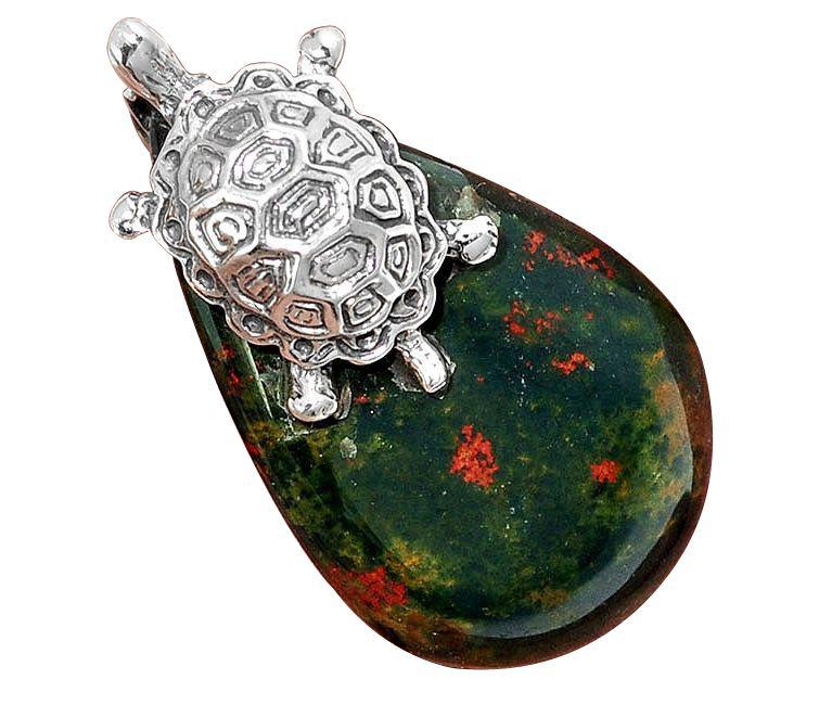 bloodstone african tortoise pendant