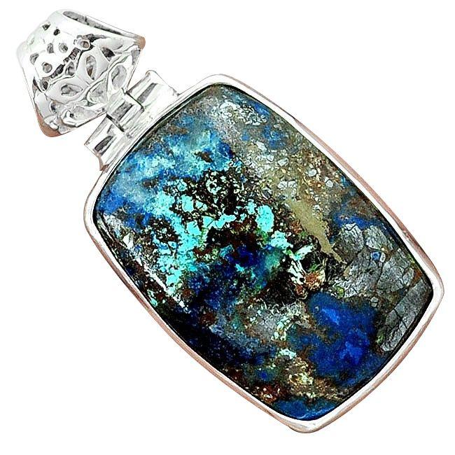 blue azurite malachite chrysocolla silver pendant