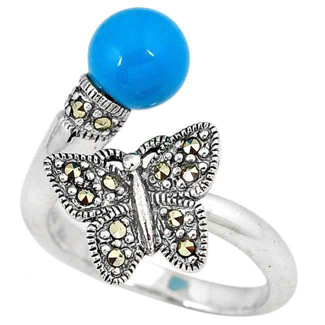 blue sleeping beauty turquoise butterfly adjustable ring