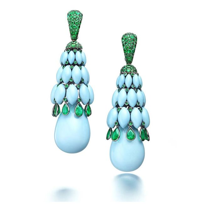 De Grisogono In White Gold with Emerald and Turquoise Earrings