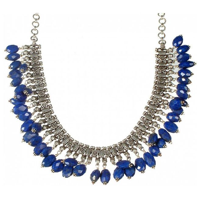 faceted lapis lazuki dangling necklace