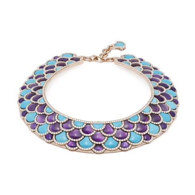 Giampiero Bodino Mosaico Necklace with Turquoise Amethysts and Brilliant-Cut Diamonds
