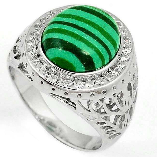green (pilot's-stone) mens ring