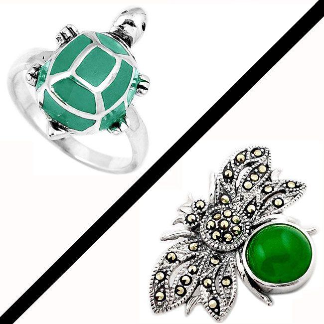 Green Jade Marcasite Enamel
