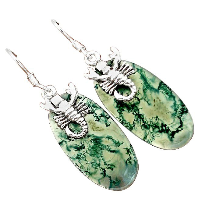 green moss agate silver scorpion earrings
