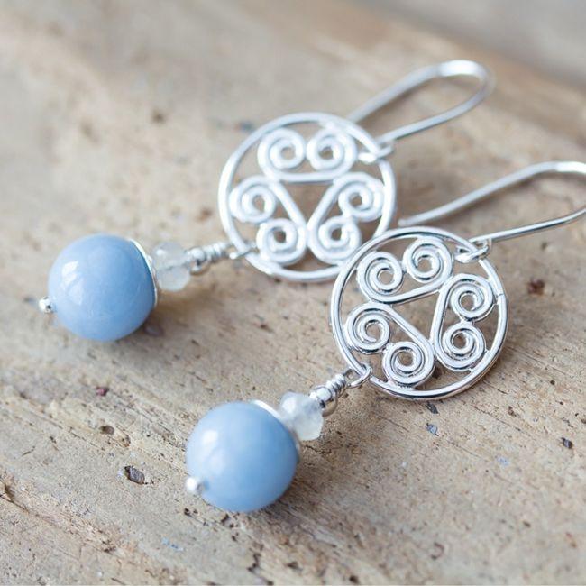 handmade pastel blue angelite earring