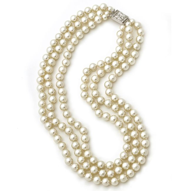 jacqueline kennedy triple strand pearl necklace