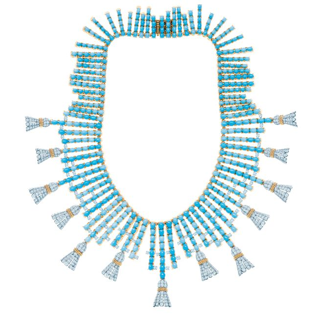 Jean Schlumberger Turquoise and Diamond Tassel Necklace