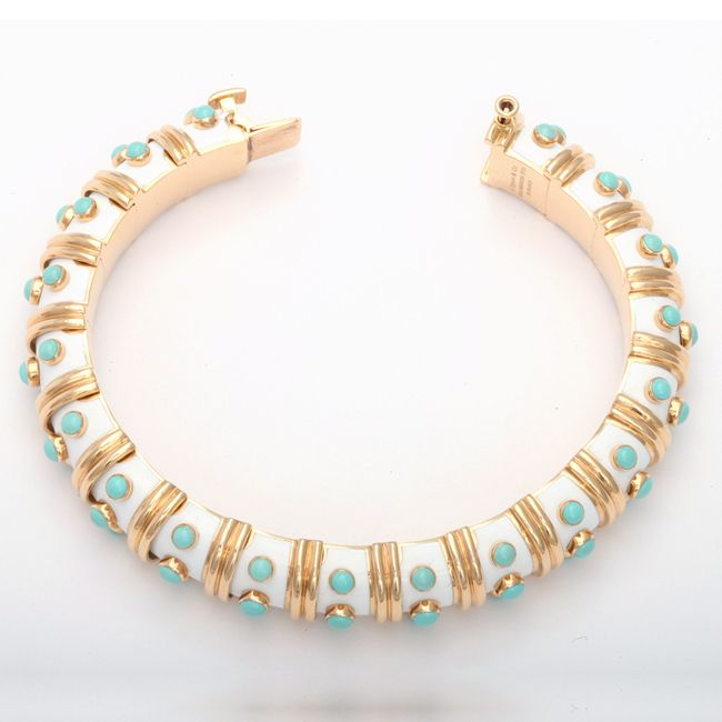 Jean Schlumberger White Enamel and Turquoise Bangle