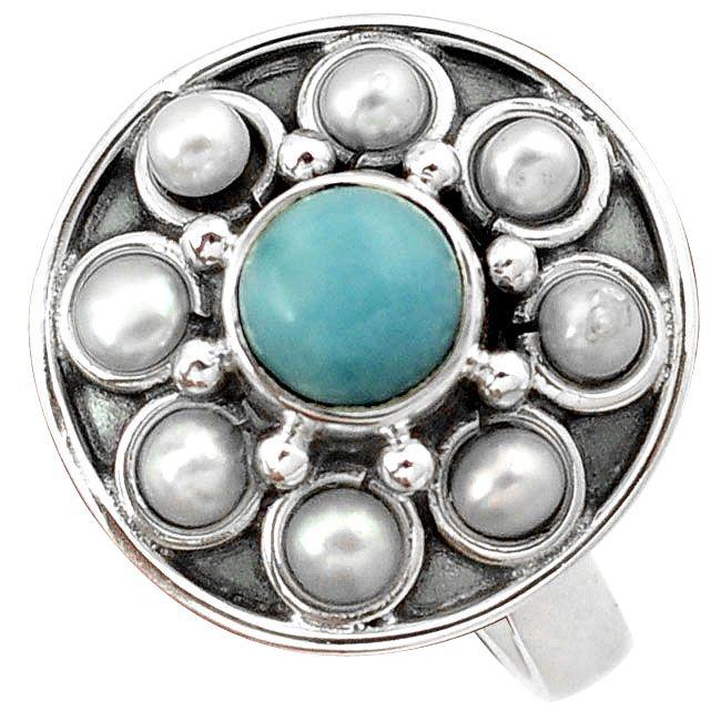 larimar pearl ring