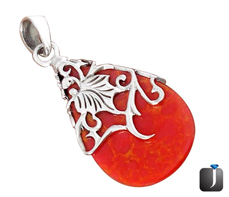 leaf design charming red coral pendant.