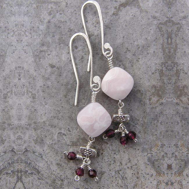 mango calcite rhodolite earrings