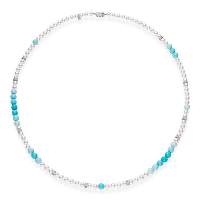 Mikimoto Pearl Necklace with Graduated Turquoise