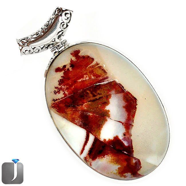 natural scenic russian dendritic agate tree shades 925 silver pendant