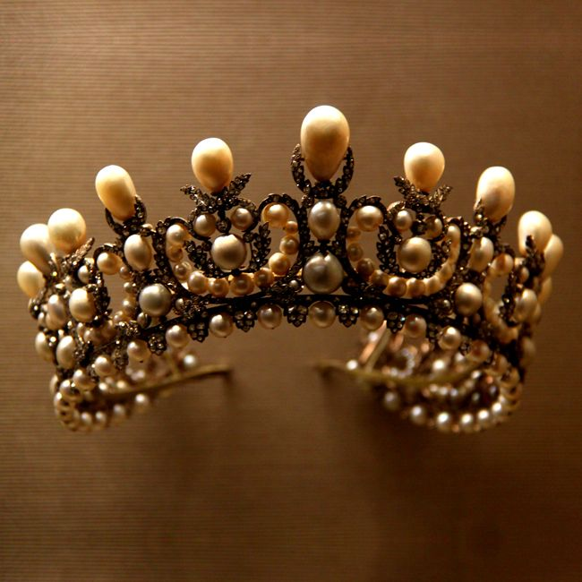 Old Pearl Crown at Louvre Museum in Paris