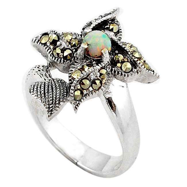 opal marcasite ring