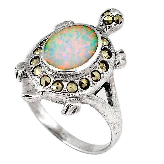 opal marcasite silver tortoise ring