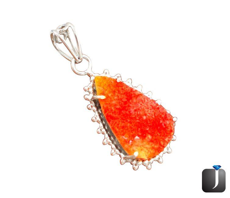 orange carnelian druzy pendant
