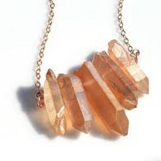 peach aura quartz necklace