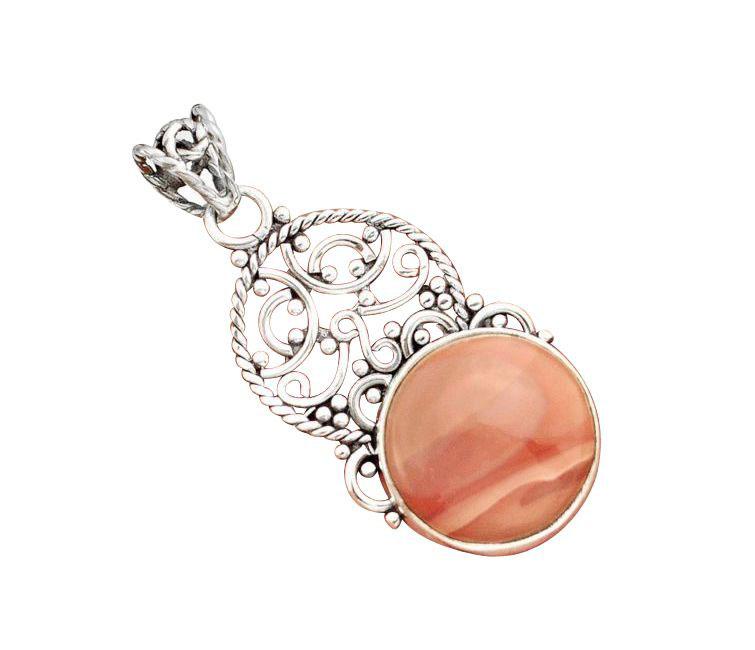 pink copper imperial jasper pendant