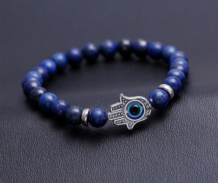 pulseira couro bracelet femme black lava stone