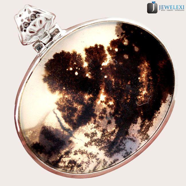scenic russian dendritic agate tree shades 925 silver pendant