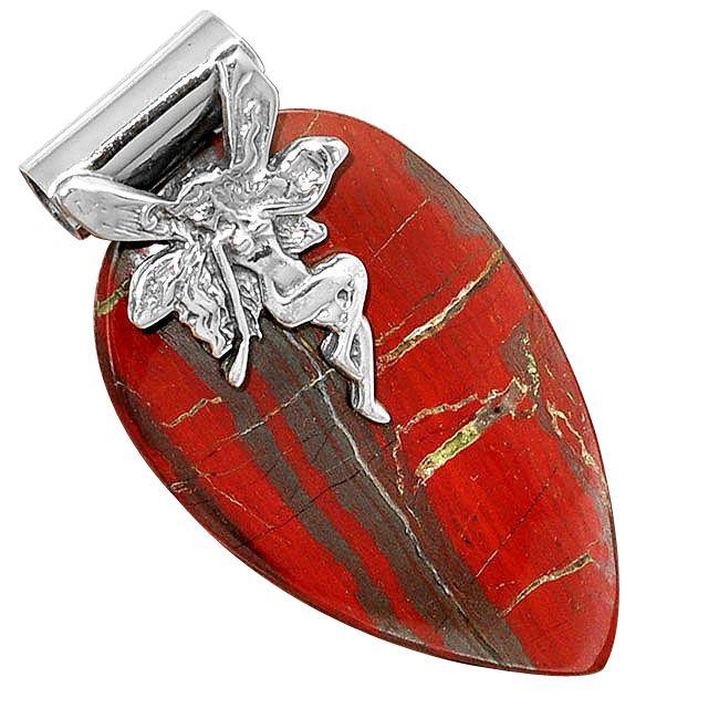 snake skin jasper angel wing pendant