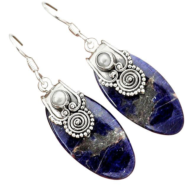 sodalite dangle earrimgs