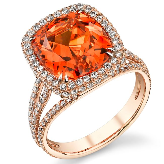 spessartite diamond ring