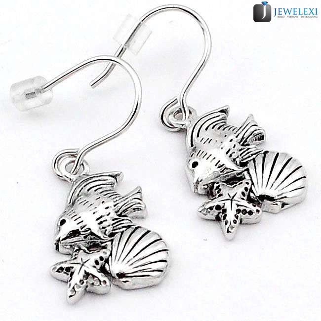 star fish sea shell dangle earrings