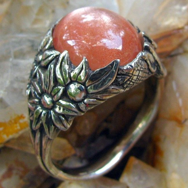 sunstone gemstone ring