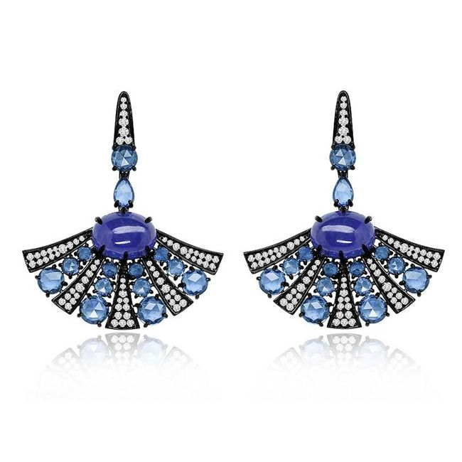 Sutra Earrings in Black Gold with Sapphires Tanzanites and Diamonds