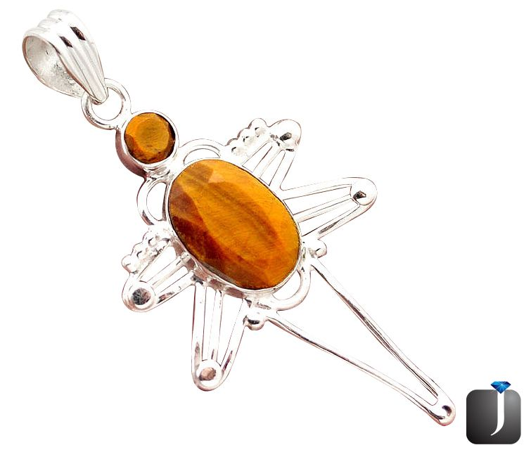 tigers eye silver pendant