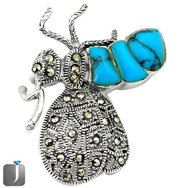 turquoise honey bee pendant